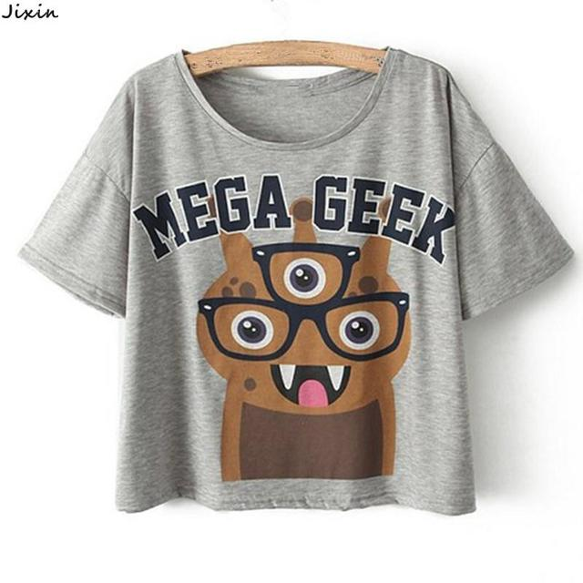 2015 Summer Style Fox Mega Geek Letter Loose Cotton Short Sleeve Crop Tops Casual T-Shirt For Women