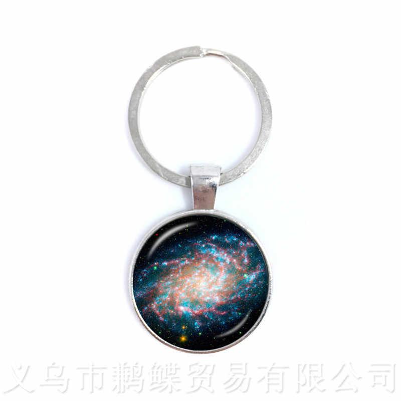 Galaxy Tinh Vân Móc Khóa Trái Đất Mặt Trăng Galaxy Vũ Trụ 25mm Kính Cabochon Mặt Dây Chuyền Thời Trang Móc Khóa Quà Tặng