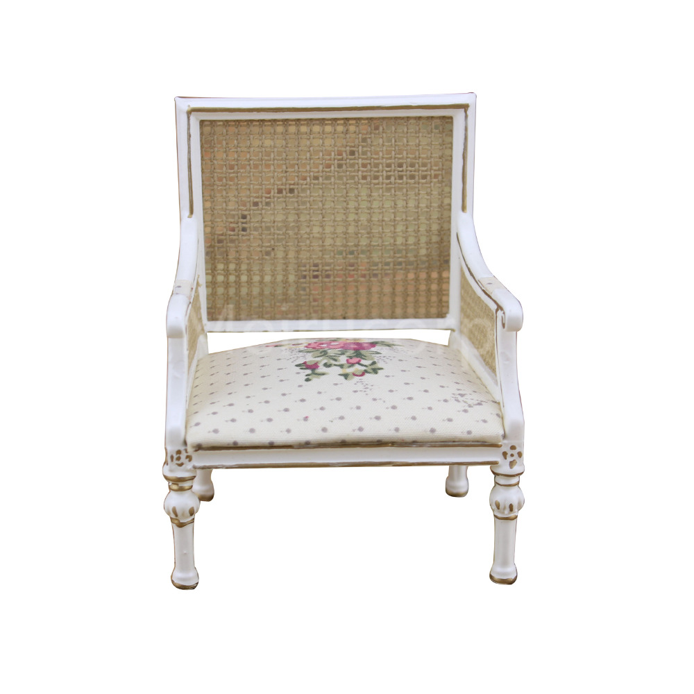 Dollhouse mini furniture 1 12 scale white hand made Backrest armchair