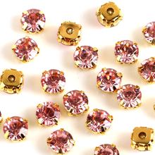 Sew on Rhinestone Pink color all size 3mm/4mm/5mm/6mm/7mm silver Gold claw base crystal stones use for DIY accessories