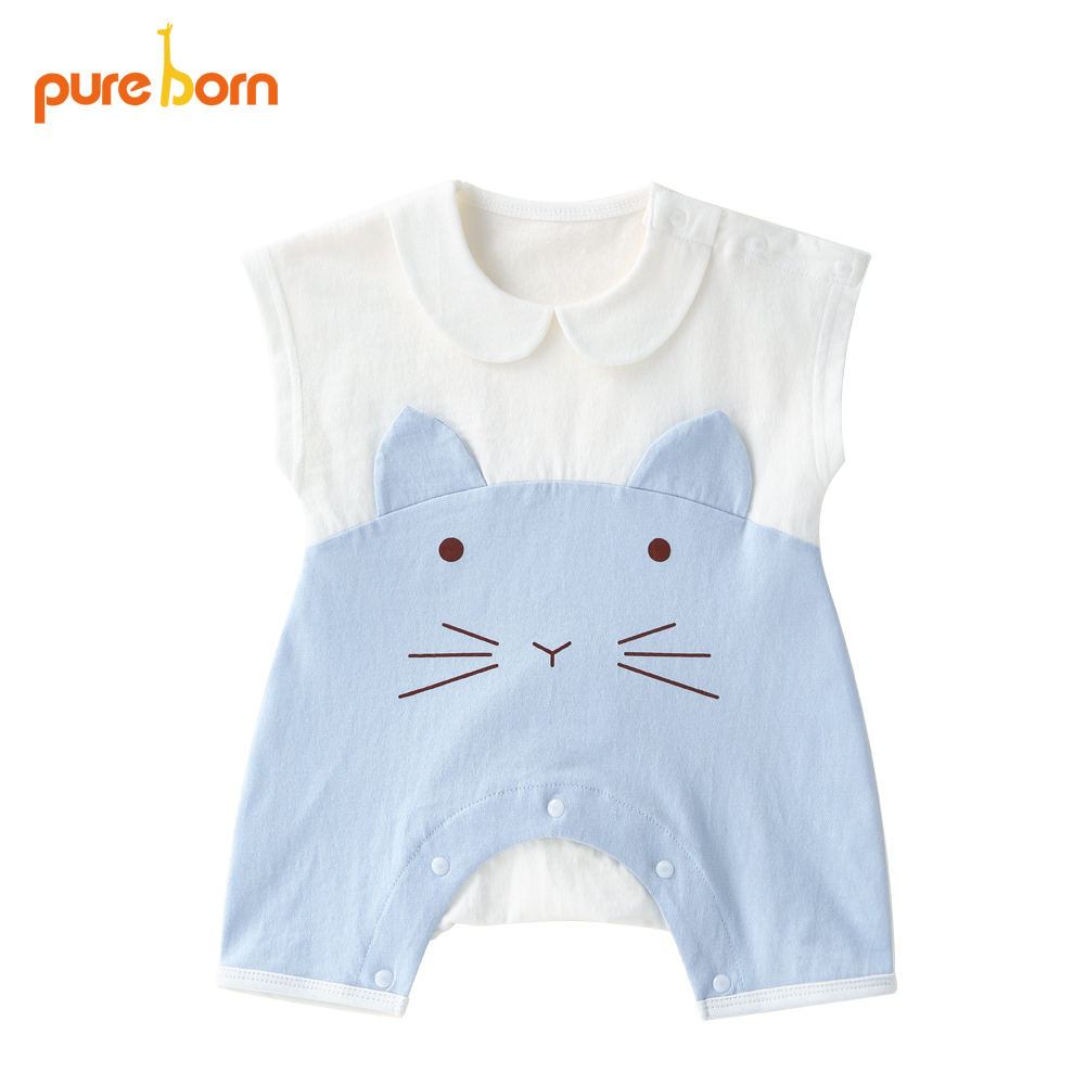 Pureborn Baby Jumpsuit Newborn Costumes Cotton Cute Cartoon Cat Summer Baby Clothes One-pieces Coveralls 2018 Brand New 3 colors