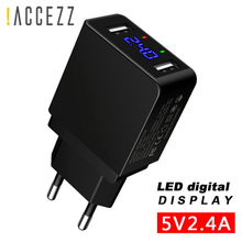 !ACCEZZ LED Display Dual USB Phone Charger EU Plug 5V 2.4A Fast Charging Travel Wall Adapter For iPhone X iPad Tablet Samsung LG цена