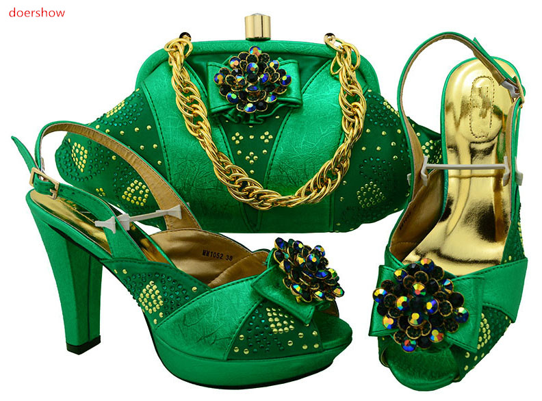 doershow African Sets GREEN Color Italian Shoes with Matching Bags High Quality Women Shoe and Bag To Match for Parties HSK1-37 fashion italy design italian matching shoe and bag set african wedding shoe and bag sets women shoe and bag to match tmm1 41