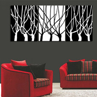 Hand Painted Abstract Acrylic Paintings Sets Handmade White Black Tree Oil Painting Modern Home Decor Wall Art 3 Panel Pictures