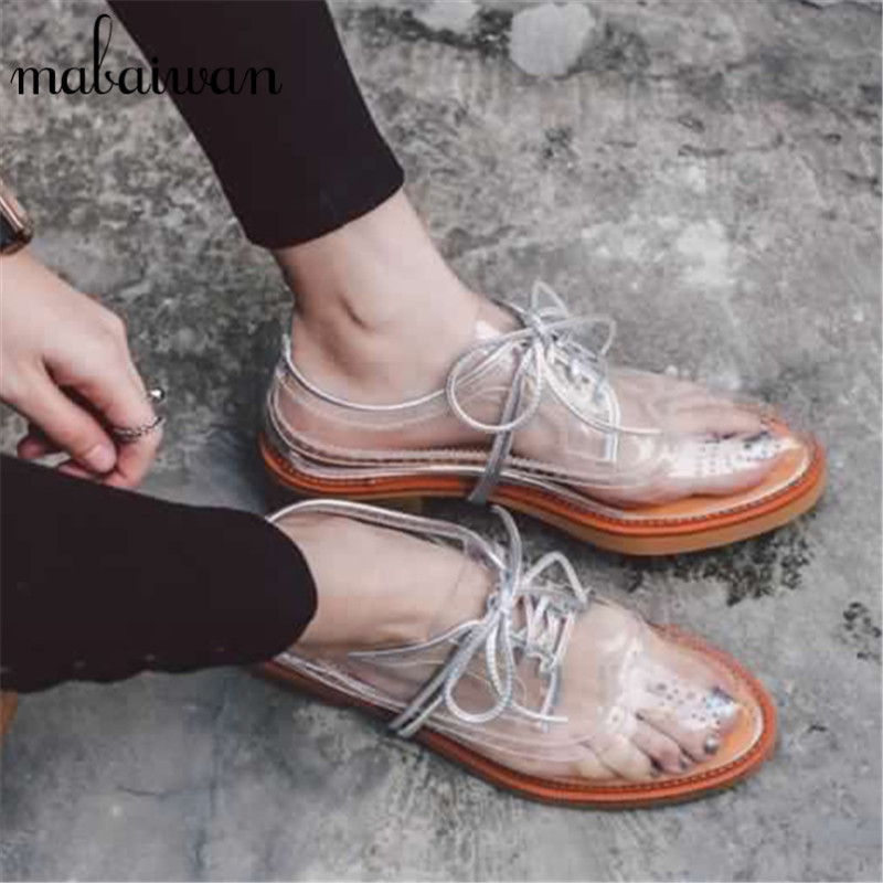 ФОТО Fashion Women PVC Ballerina Flats Transparent Casual Shoes Woman Lace Up Hollow Out Espadrilles Creepers Oxfords Zapatos Mujer