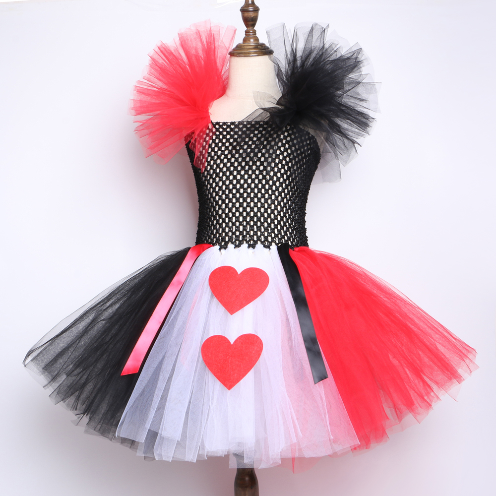 Red Black White Queen of Heart Tutu Dress Alice In Wonderland Fancy Party Costumes for Girls Kids Halloween Birthday Dress 2 12Y in Dresses from Mother Kids