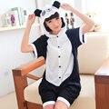 2016 Panda Cute Couple Pajama Cartoon Animal Siamese Pajamas Cotton Short Sleeved Character Summer Pajamas Sleepwear Wholesale