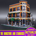 2016 LEPIN 15017 4616Pcs City Street Creator Starbucks Bookstore Cafe Model Building Kit  Blocks Bricks Compatible Toy