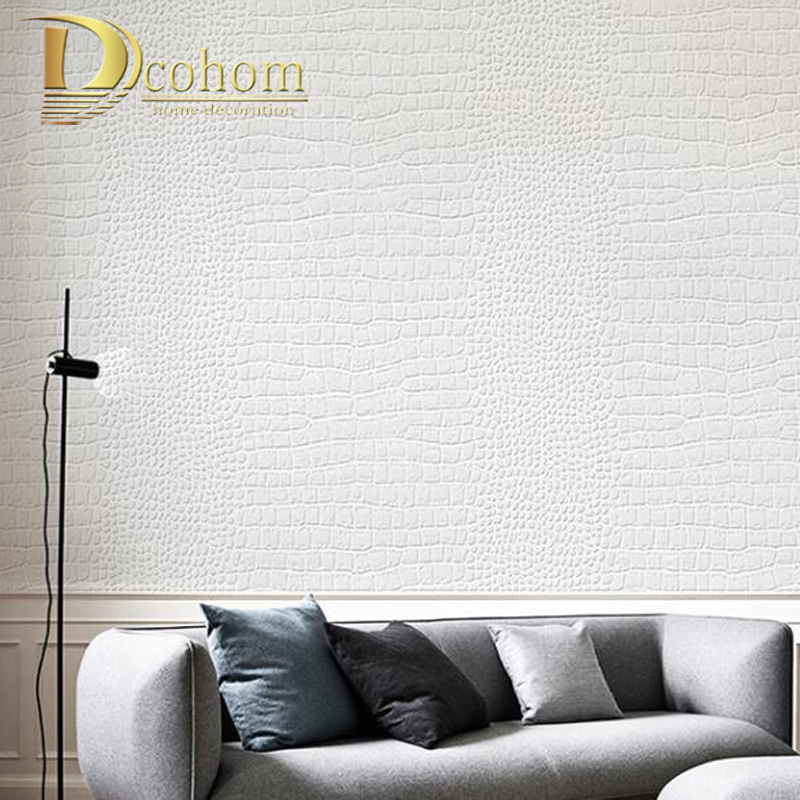 Modern Papel De Parede Fashion Modern Design Embossed Wallpaper Roll For Wall Faux Crocodile Skin Leather Wall Paper White