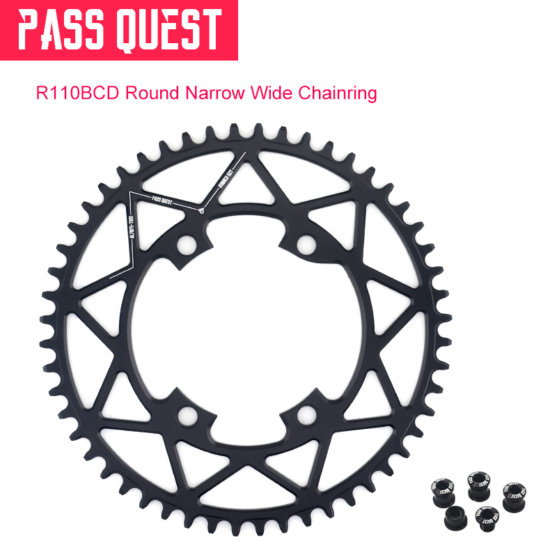 PASS QUEST Black 110BCD MTB Round Road Bike Narrow Wide Chainring 40T-52T Bike Chainwheel For R7000 R8000 DA9100PASS QUEST Black 110BCD MTB Round Road Bike Narrow Wide Chainring 40T-52T Bike Chainwheel For R7000 R8000 DA9100