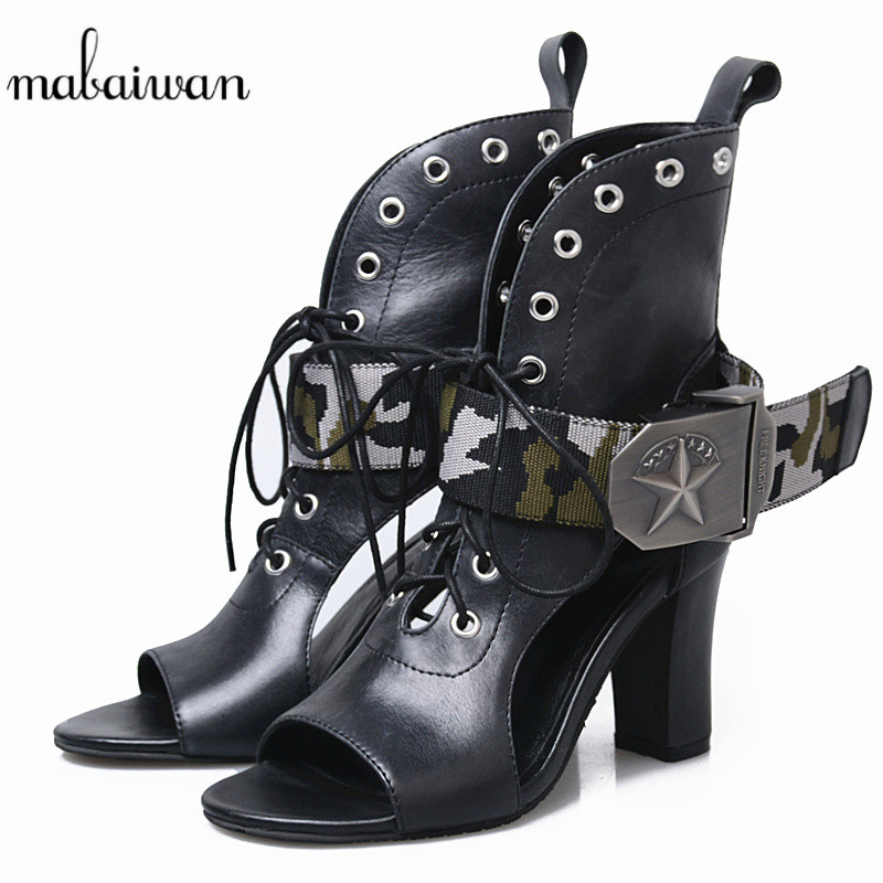 Mabaiwan Spring Women Shoes Buckle 8 CM High Heels Sandals Casual Shoes Woman Summer Ankle Boots Genuine Leather PeepToe PumpsMabaiwan Spring Women Shoes Buckle 8 CM High Heels Sandals Casual Shoes Woman Summer Ankle Boots Genuine Leather PeepToe Pumps