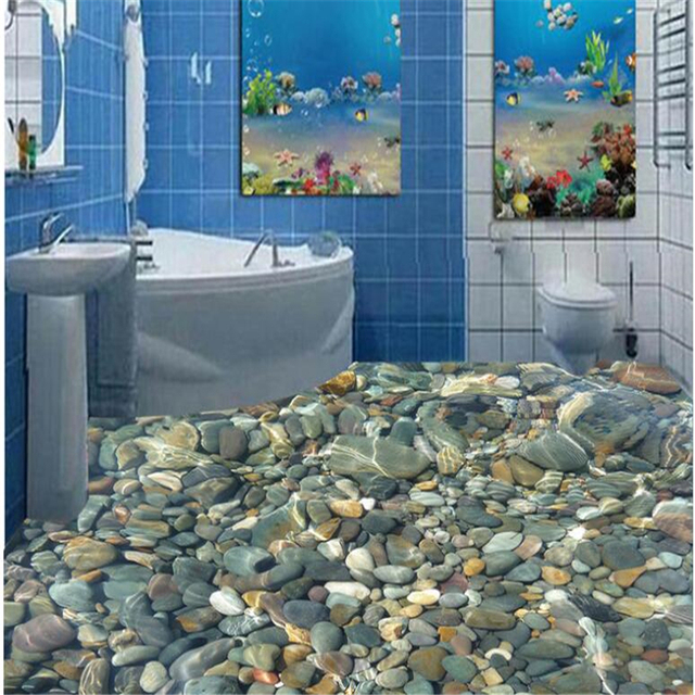 Beibehang Realistic Water Pebble Floor Tiles 3d Flooring