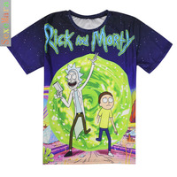 Cool Rick Morty Men T Shirt 2016 Summer Anime T Shirts Peace Among Worlds Folk White