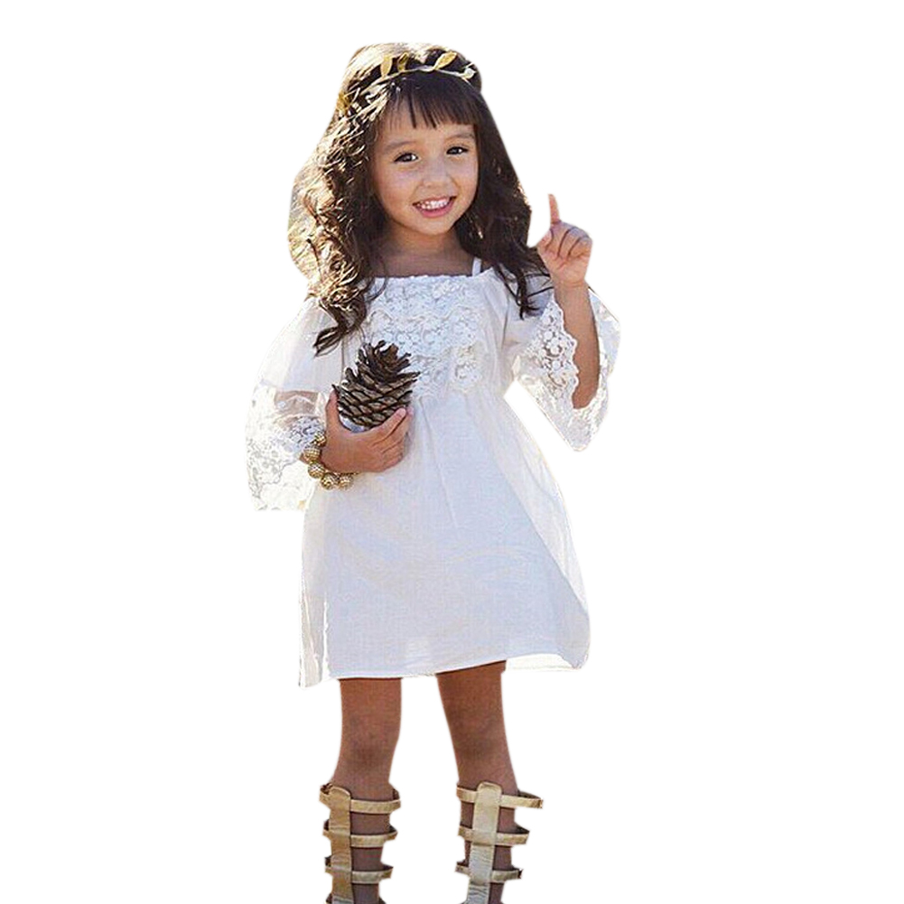 2017 New Toddler Kids Girls Summer Dress Off-shoulder Ruffles Lace Dresses Solid White Baby Girl Clothes Princess Costume 2-7Y