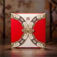 50 Adet/grup Kişiselleştirilmiş Çin Tarzı Düğün Davetiyeleri Çin Yapılan Convite Kart Casamento Dekorasyon Mariage