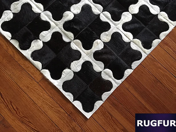 Natural Skin Fur Rug Cow Hide Patchwork Carpets Approximate 4.6 X 6.56 Ft 140x200cm Curing Cough And Facilitating Expectoration And Relieving Hoarseness