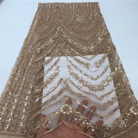 Latest High Quality African Tulle Lace Fabric 5 YardsEmbroidery French Net Lace 2019 Gold Lace Fabric with Sequins A1484