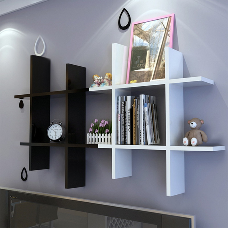 Homdox Wooden White Black Elegant Wall Hanging Shelf Bedroom Books Goods Storage Holder Living Room Fashion Decor 40 25