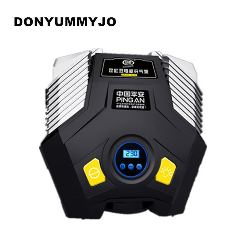 DONYUMMYJO Double Cylinder Double Motor LED Light Digital Display Auto Car Tire Inflator 12V Electric Car