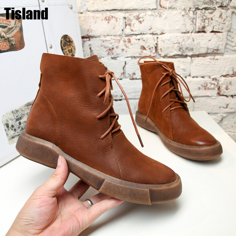 Hot Sale Shoes Martin Boots Genuine Leather Ankle Shoes Vintage Casual Shoes Brand New Retro Handmade Women Autumn Winter Boots women led light shoes casual shoes led luminous boots unisex genuine leather ankle boots women usb charging martin boots 35 46