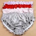 3 unids/lote, 100% bragas de seda de las mujeres bikinis sexy underwear briefs alta calidad con volantes de seda
