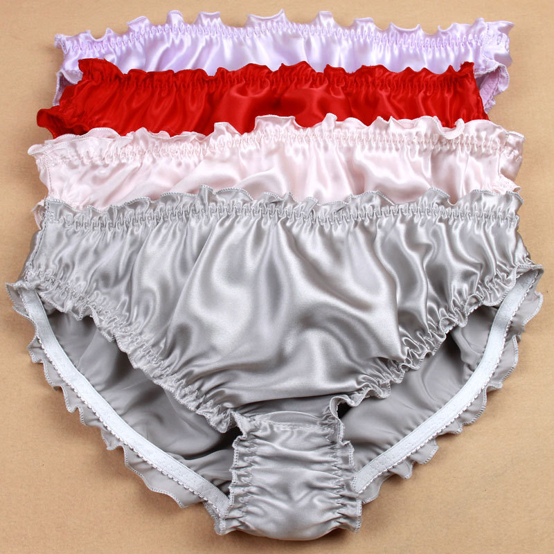 3pcs/lot, Women's 100% Silk Panties String Bikinis Sexy Briefs High quality ruffled silk underwear