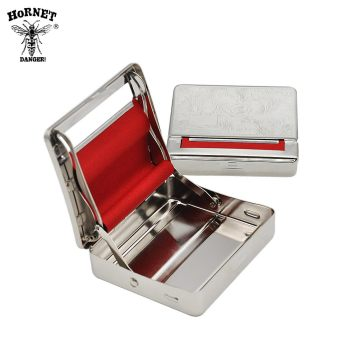 HORNET Metal Rolling Machine Case For 70MM Paper Tobacco Box With Red Cloth Portable Cigarette Maker Smoking Accessories