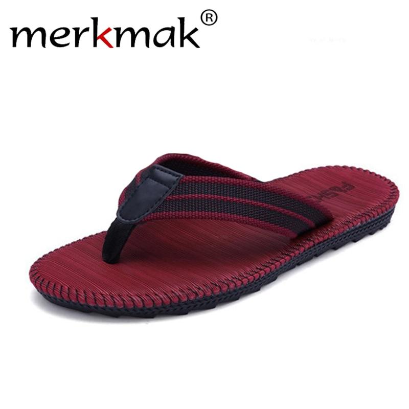 Merkmak 2019 Men Summer Flip Flops Shoes Casual Beach Sandals Male Fashion Outdoor Slipper Flip-flops High Quality Footwear Male