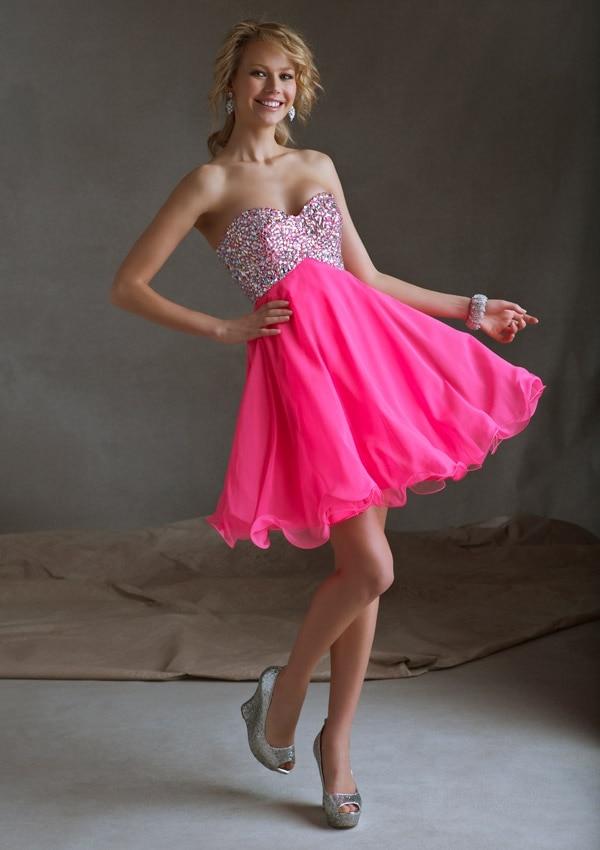 Sexy Sweetheart Chiffon A Line Hot Pink Beautiful Girl Party Dress
