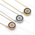 Carraton NSQD3012 Genuine 925 Sterling Silver Jewelry AAA Zircon Round Evil Eye Necklace