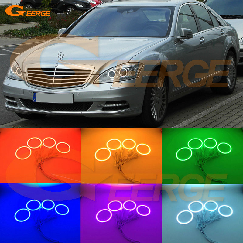 For Mercedes Benz W221 S Class S350 S400 S500 S550 S600 S63 S65 AMG Excellent Multi-Color Ultra bright RGB LED Angel Eyes kit for mercedes benz b class w245 b160 b180 b170 b200 2006 2011 excellent multi color ultra bright rgb led angel eyes kit