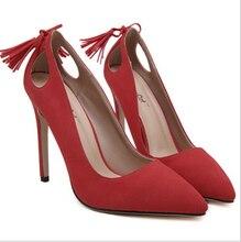 womens shoes heels sexy High Heels ladies pumps low heel shoes Pointed Toe pumps women Tassel white heels wedding shoes