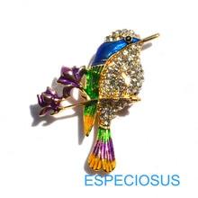 Элегантная булавка золотого цвета для женщин, подарки, колибри, стразы, нагрудная булавка, аксессуары, смешанные цвета, ювелирное изделие, окрашенная птица, брошь, одежда