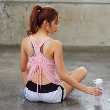 Women's Racerback Yoga Tank Top Breathable Sleeveless Back Drawstring Tie Up Active Workout Sport Vest Loose Fit Sports Clothes 1
