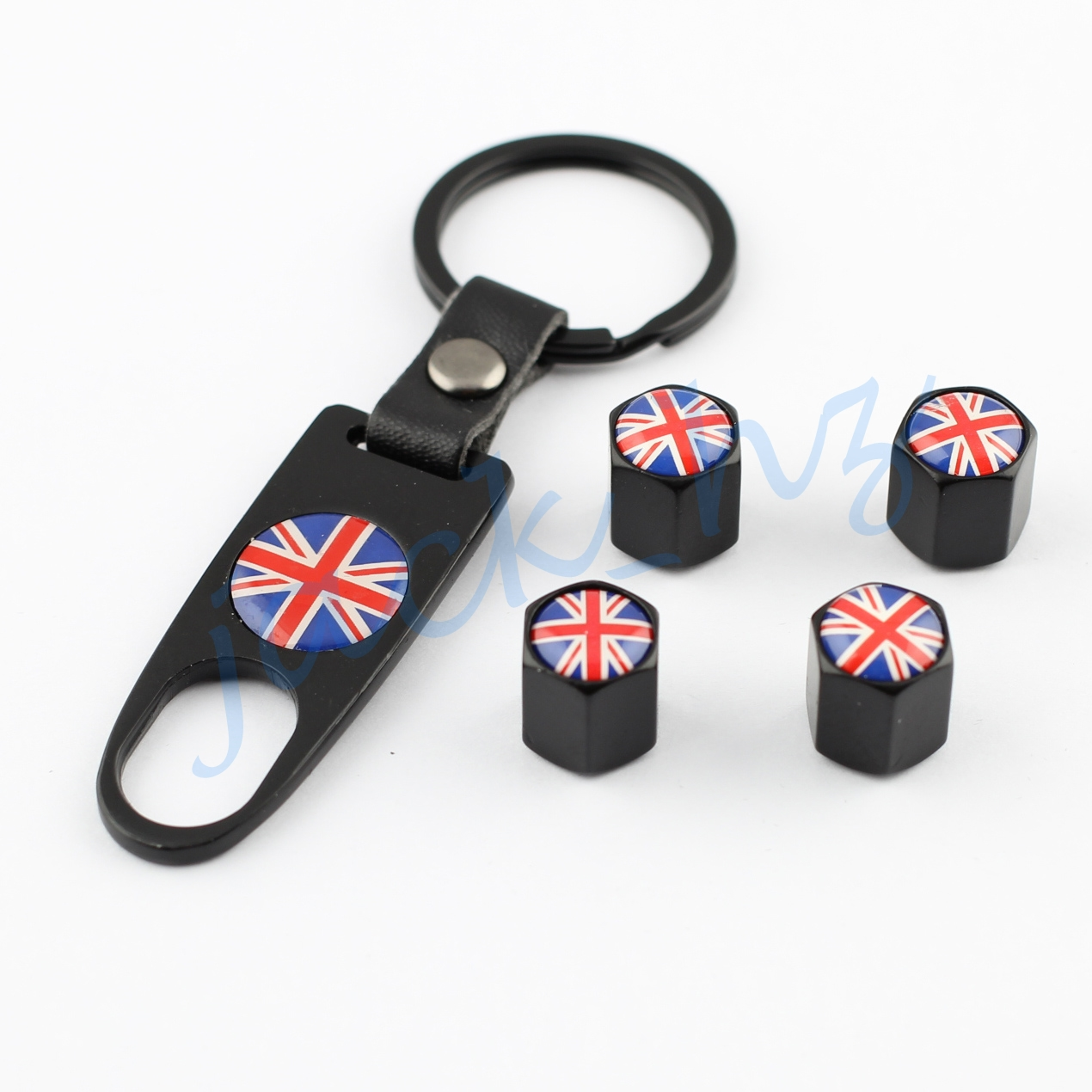 Vehicle auto car accessories parts tire tyre valve air dust cap cover key chain united kingdom nation uk flag styling