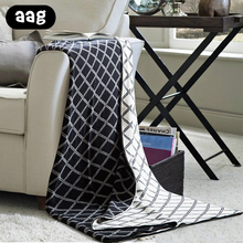 AAG Double Side Knitted Blanket Soft Cotton Geometric Pattern Home Decorative Throw for SofaCouch Bed Thick Warm