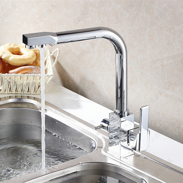 Square solid brass kitchen body filter kitchen sink water mixer tap with dual handle single hole kitchen faucet бицепс трицепс машина body solid pro dual dbtc sf