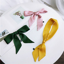 Pure Color 90*5cm Satin Silk Small Scarf Women Spring and Autumn Summer Bag Tied Handle Ribbons Headbands Skinny Scarves