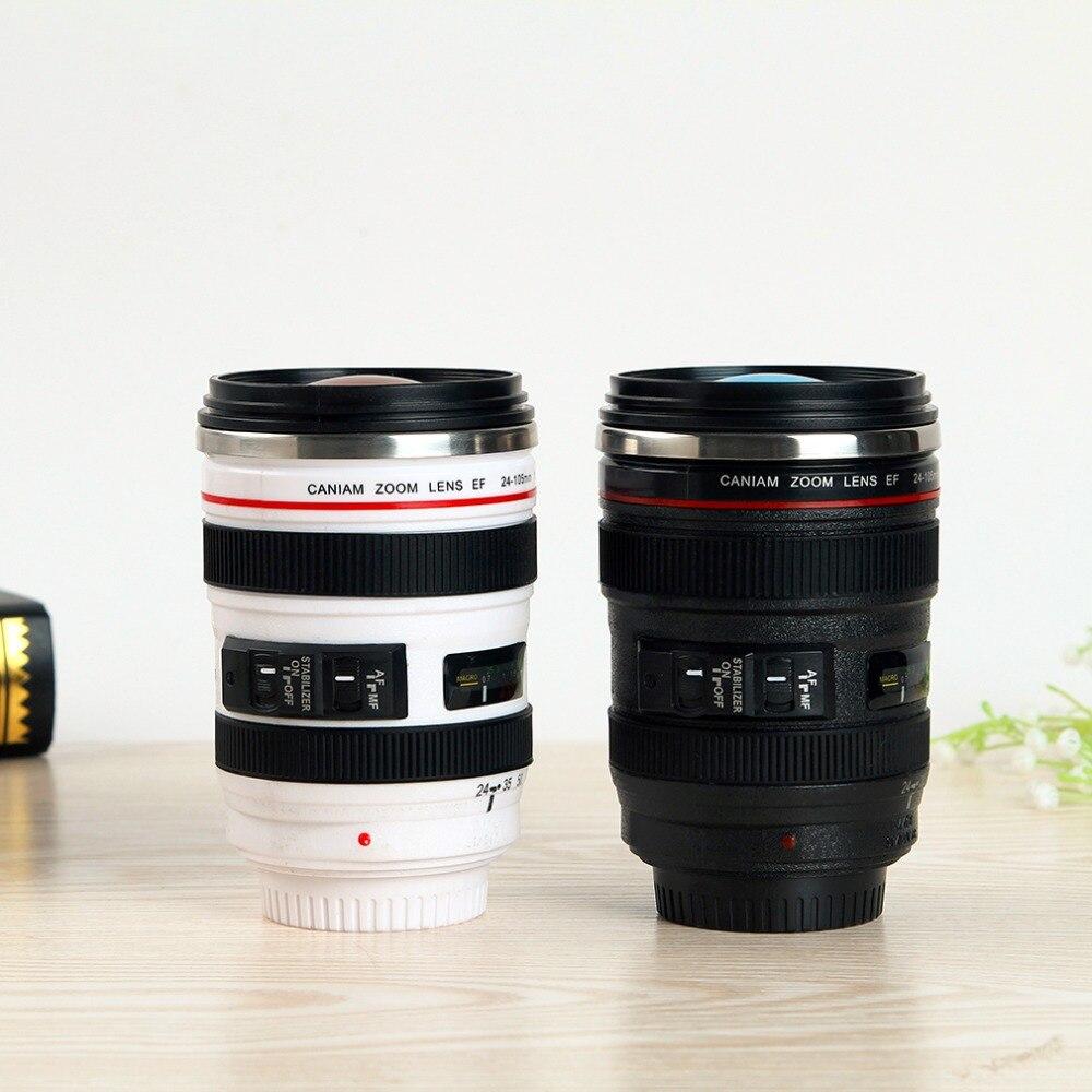2 farben Durable DIY Edelstahl Vakuum Flaschen Reise Kaffee Becher Tasse Wasser Kaffee Tee Kamera Objektiv Tasse Mit Deckel dropshipping