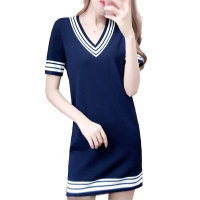 Maternity Summer Nursing Knit Dress Breastfeeding Dresses for Pregnant Women Causal Fashion Stripes V neck Long T shirts Clothes