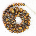 """Hot yellow tiger stone 6-14mm new round loose beads handmade necklace 18""""B630"""