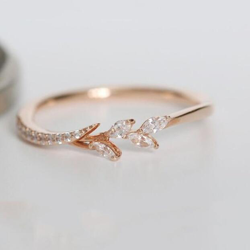 Tisonliz Danity Leaf Crystal Engagement Rings Women's Eternity Wedding Band Rings For Female Rose Gold Rings Jewelry Gifts