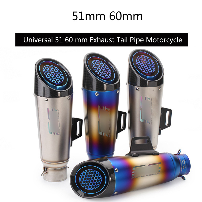 Universal 51 60 mm Exhaust Pipe Motorcycle Tail Escape Modified No DB Killer Carbon Fiber Exhaust Tips Wire-netting Dirt Bike