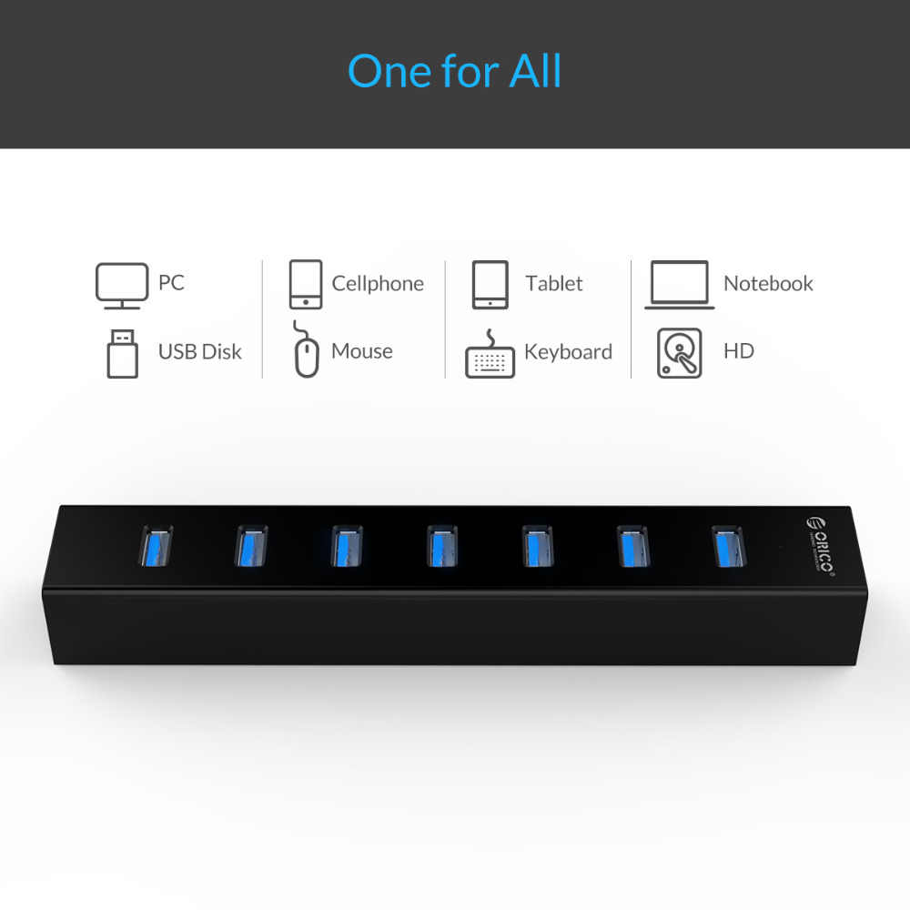 ORICO H7013 عالية السرعة 7 منافذ USB3.0 HUB المحمولة مكتب USB الخائن مع محول الطاقة للكمبيوتر اللوحي المحمول دفتر