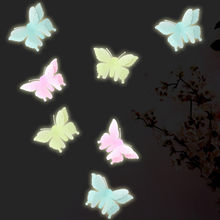Hot sale 6PC Luminous Butterflies Skin Wall Sticker Decorative Glow in the Dark Art for dropshipping(China)