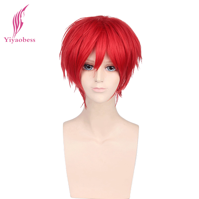 Yiyaobess Synthetic Short Wavy Red Silver Gray Light Golden Yellow Green Pink Purple Orange White Universal Cosplay Wig Bangs image
