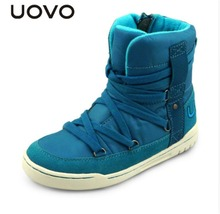 UOVO brand children shoes fashion high cut winter boys and girls snow boots lace kids sport for 4-15 years old.