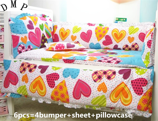 Promotion! 6PCS baby bed linen 100% cotton boy/girl crib bedding sets ,include (bumpers+sheet+pillow cover)