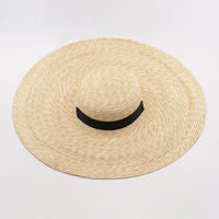 Wide Big Brim Summer Beach Wheat Straw Women Boater hat with Ribbon Tie For Vacation Holiday Audrey Hepburn