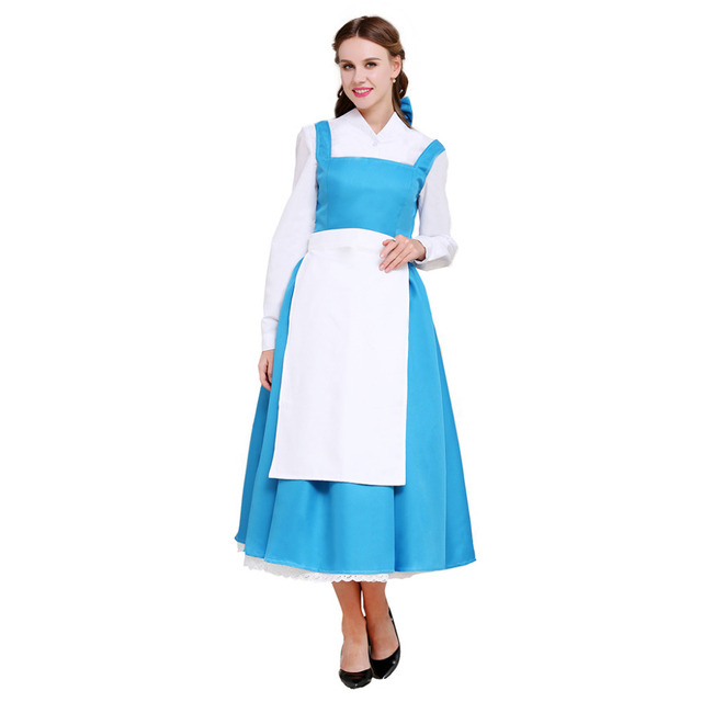 Beauty And The Beast Belle Maid Costume Dress Adult Princess Halloween Cosplay